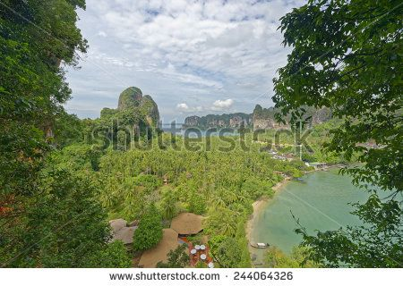 http://www.shutterstock.com/pic-244064326 Thailand, Railay Beach From One Of Two View Point Hike,S Through It Cliff Like Mountain Forests. Below You Can See Two Of Its Three Tropical Beach Bays And Palm Tree Forests In Between Stock Photo 244064326 : Shutterstock #thailand #stockphoto #thailandphoto #stockimage #thailandstock