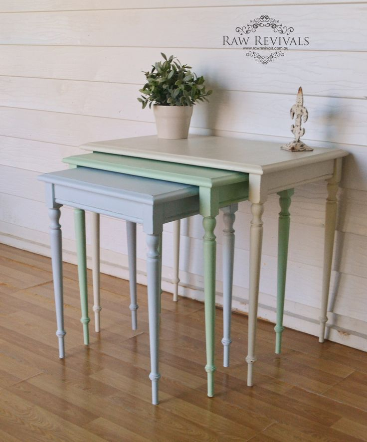 Pastel nest of tables.  Upcycled furniture  furniture diy www.rawrevivals.com.au