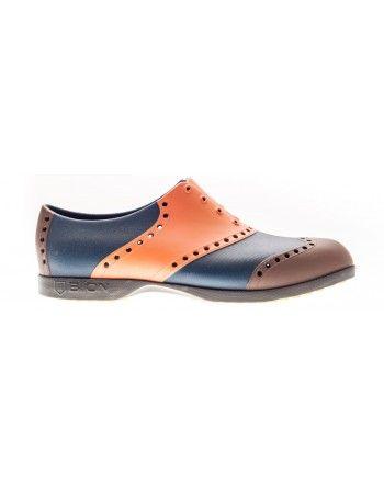 Scarpe Biion da golf - Arancio, blu e marrone   #yellow #camo #red #white #shoes #footwear #scarpe #golf #golfshoes #golfclothing #sport #sporty #outdoor #lifestyle #fun #colors #colorful #fashio #elegant #style #retro #bbgolfstyle #biion #sparetime #weekend #unisex #floral #texture #print