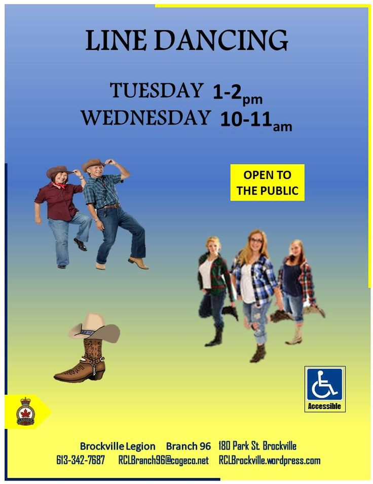 Line Dancing   Tuesday's  1 - 2pm  Wednesday's 10am -- 11am   Open to the Public