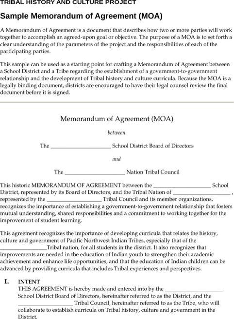 Sample Memorandum of Agreement TemplatesForms Non disclosure