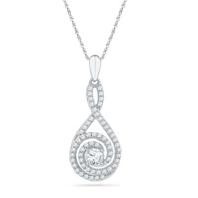 1/2 CT. T.W. Diamond Spiral Teardrop Pendant in 10K White Gold - View All Necklaces - Zales