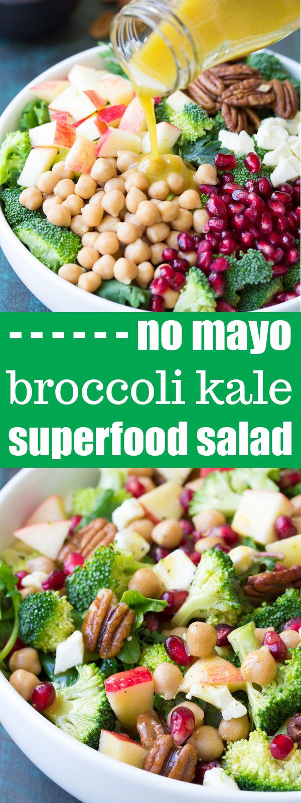 This Broccoli Kale Superfood Salad is a healthy holiday side dish. It's also delicious for lunch! With chickpeas, pomegranate seeds, apple, pecans and feta cheese. A favorite no mayo broccoli salad! #ad