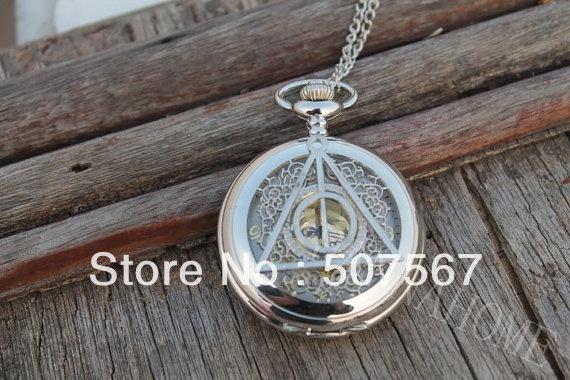 As relíquias hallows harry porter relógio de bolso colar pingente mens jóias vintage