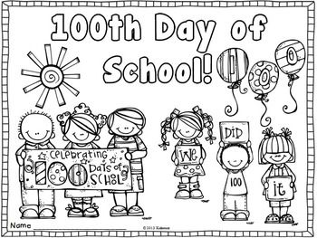 100th Day Coloring Page Freebie February 100 Days Of School 100s