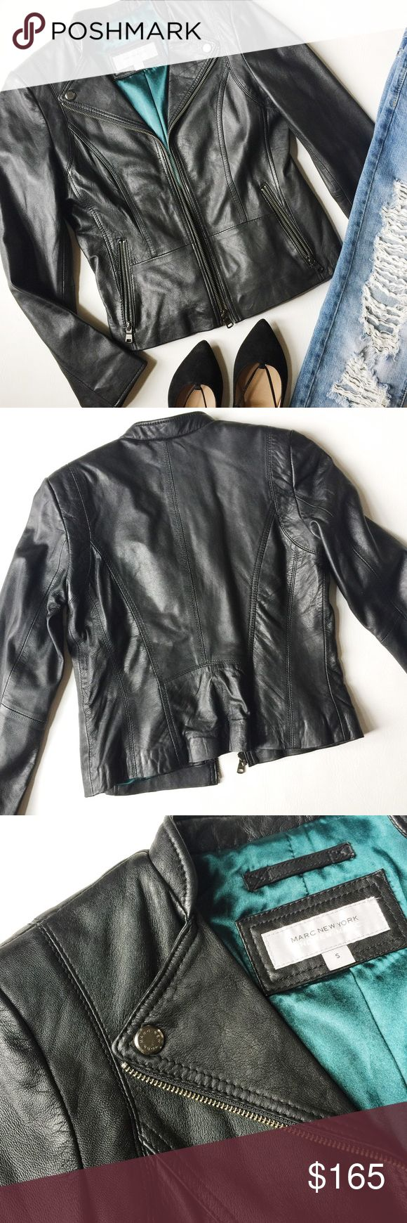 "Marc New York Leather Moto Jacket Marc New York Leather Moto Jacket in black featuring mandarin collar and silver tone hardware.  Simple but luxurious and on trend!  Butter soft lambskin leather.  Pre-loved but in excellent condition.  No holes, stains or damage.  Stock photo used to show fit but shown in different color.  Measurements laying flat: Armpit to armpit: 17.5"" Waist (across): 16.5""  Total length: 21""  Sleeve length: 24"" (approx.) Andrew Marc Jackets & Coats"