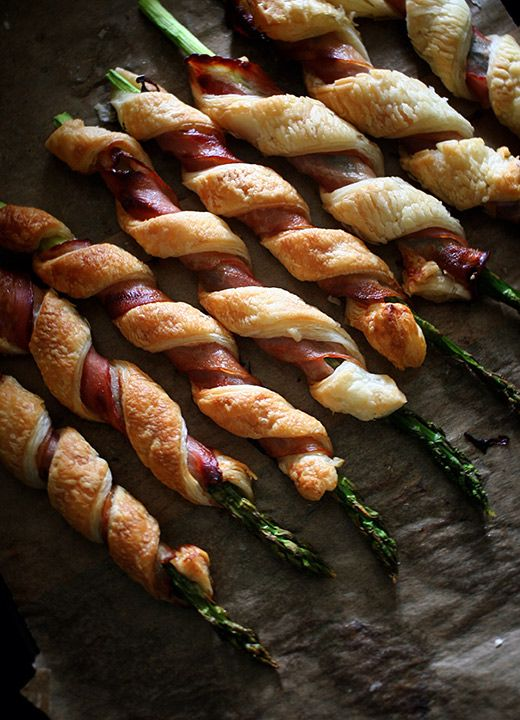 Bacon Wrapped Asparagus Puff Pastry - this might actually make asparagus edible