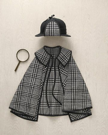 A. is totally into being a detective now. {Sherlock Holmes costume tutorial from Martha Stewart}
