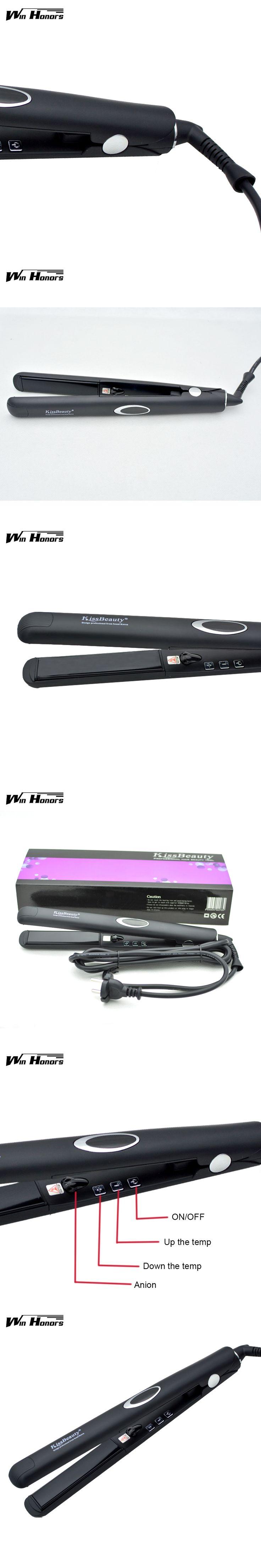 Negative ions Function Flat Iron Tourmaline Ceramic Plate Professional Hair Straightener Black Straightening Irons