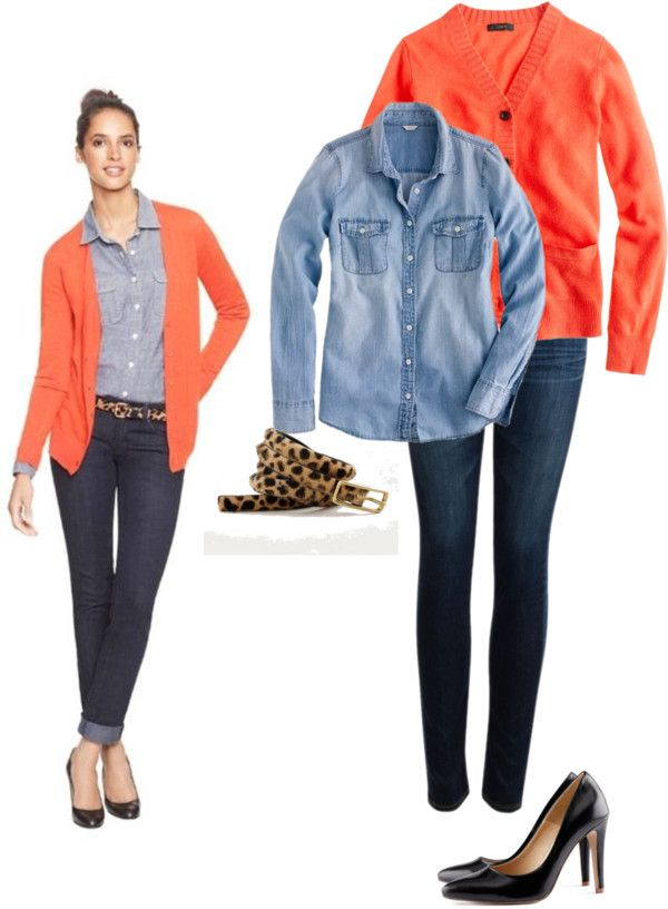 """""""inspired: coral and chambray"""" by wrymommy ❤ liked on Polyvore"""