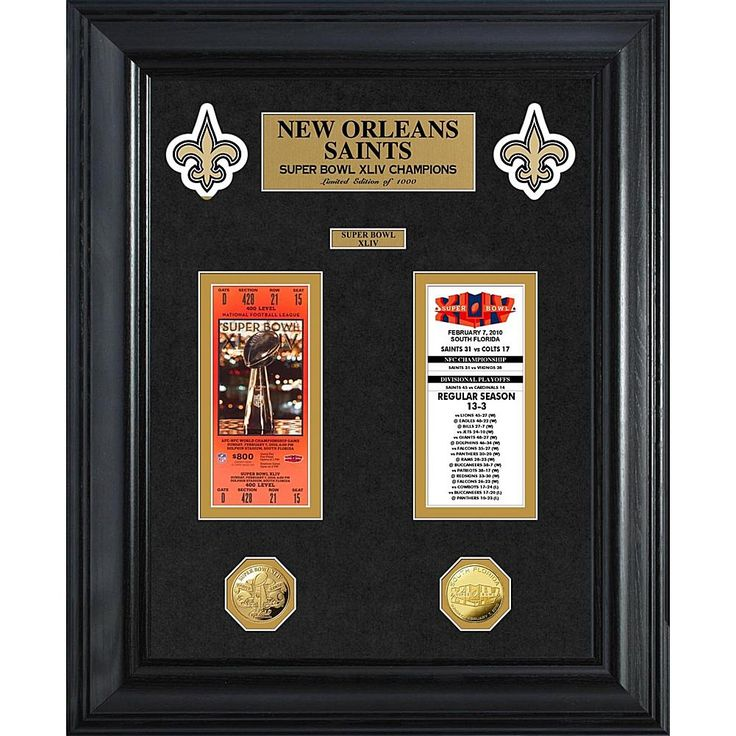 The Highland Mint New Orleans Saints Framed Super Bowl Ticket and Game Coin Collection