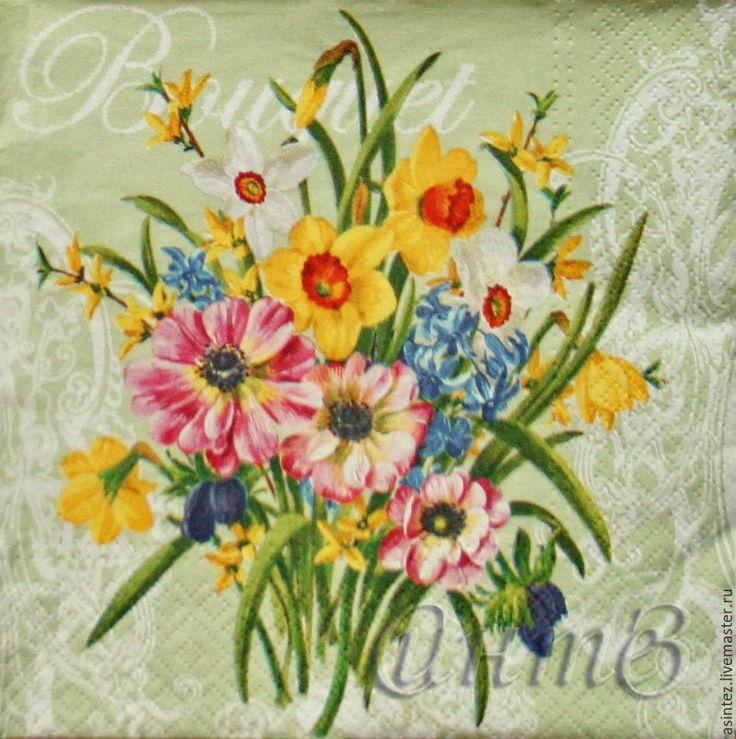 Купить салфетка для декупажа цветочный букет принт - салфетки декупаж, шрифт название франция