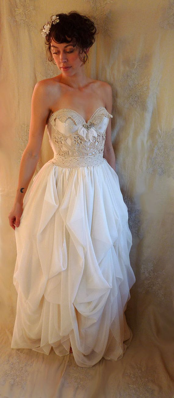 Custom Wedding Gown for Natalie… bustier corset woodland silk chiffon ivory boho alternative country whimsical fairy romantic eco friendly by Jada Dreaming on Etsy