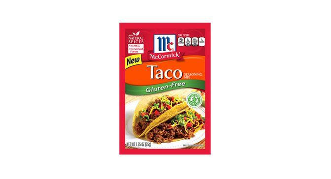The NEW McCormick® Gluten-Free Taco Seasoning Mix is a zesty blend of authentic Mexican seasonings, including onions & peppers, that is certain to turn ordinary food into a fiesta of flavor. Taco Seasoning has a hearty flavor that's not too spicy but warm enough to complement a variety of meats. For South-of-the-Border flavor appeal, McCormick® Gluten-Free Taco Seasoning Mix is the seasoning of choice. Contains no added MSG.
