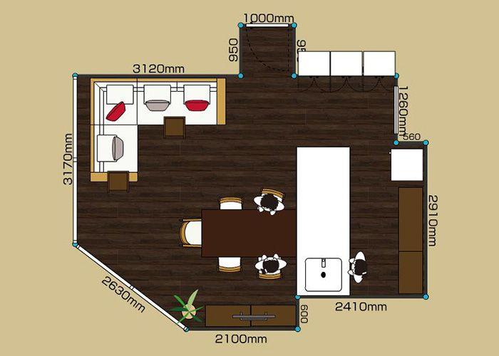 リビングダイニングルーム 2ldk 15畳 2d レイアウト インテリアコーディネート 実例 Ldk レイアウト