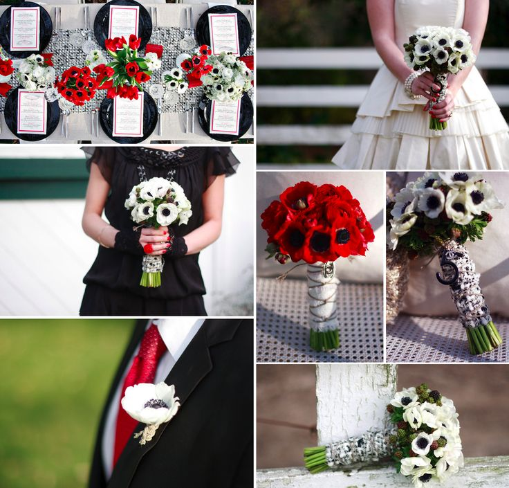 Black, red and white bouquetsBlack Weddings, Sweets Anemones, Anemones Flower, Black White, Wedding Flowers, Flower Inspiration, Red White, White Black, Red Wedding