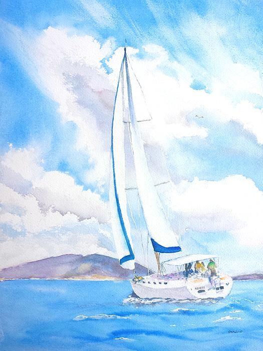"""Sailing the Islands"" British Virgin Islands. Watercolor painting by artist Carlin Blahnik of CarlinArtWatercolor.  Buy Original Paintings @ https://CarlinArtWatercolor.etsy.com ~ Buy Prints @ https://carlin-blahnik.pixels.com/"
