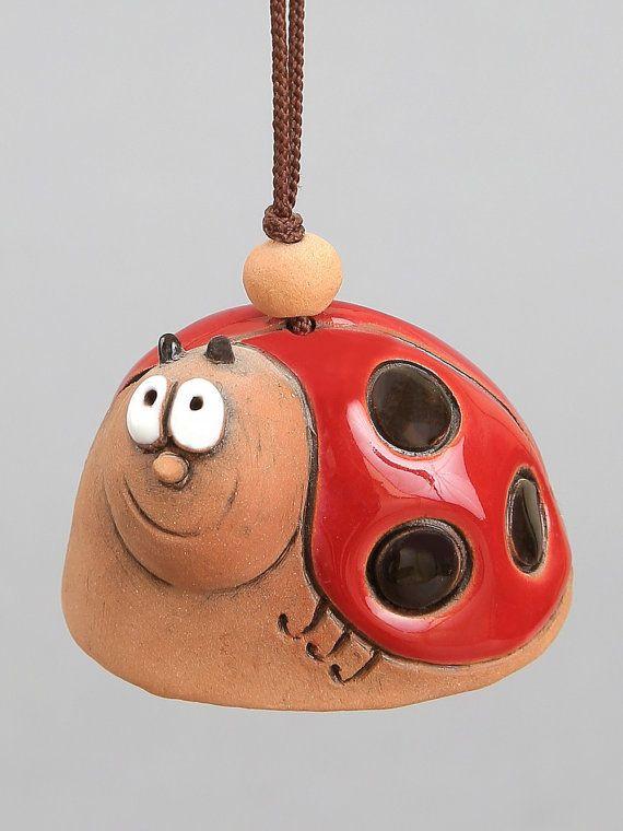 Kleine Keramik-Glocken: Lady-Bird Frosch Schnecke von Molinukas