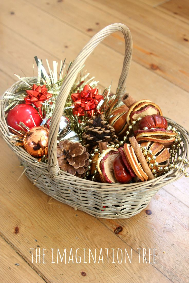 Christmas themed treasure basket for toddlers