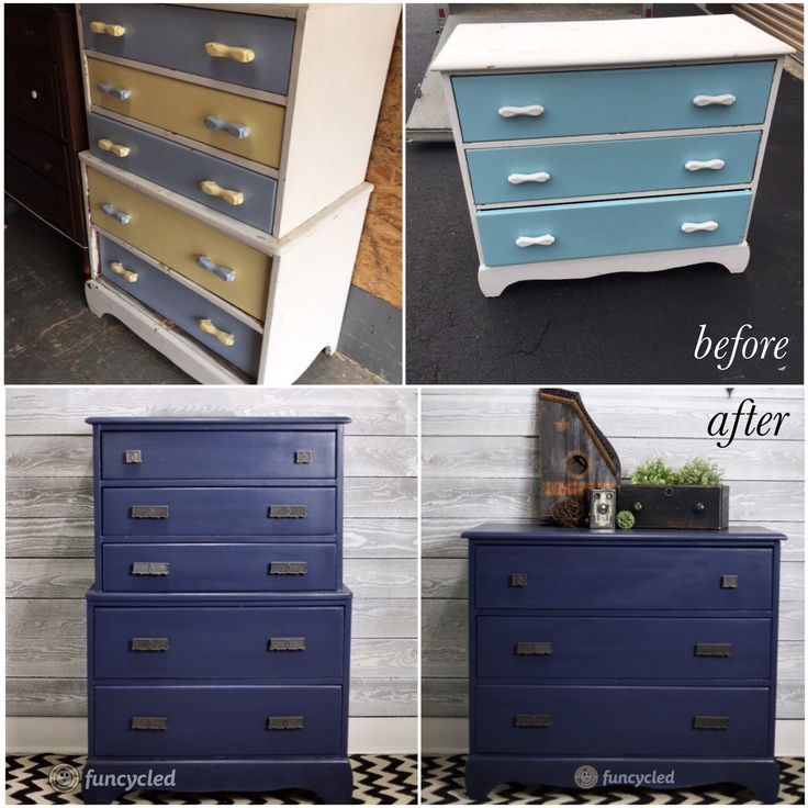 Navy Dresser Set Makeover http://funcycled.com/projects/navy-dresser-set-tuesdays-treasures/ #funcycled #repurposedfurniture #upcycle #interiors #makeover