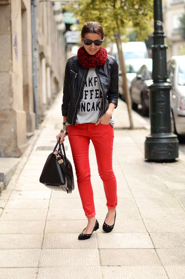 Best of Street Style | red denim, tee, leather, infinity scarf, studded flats. Casual.