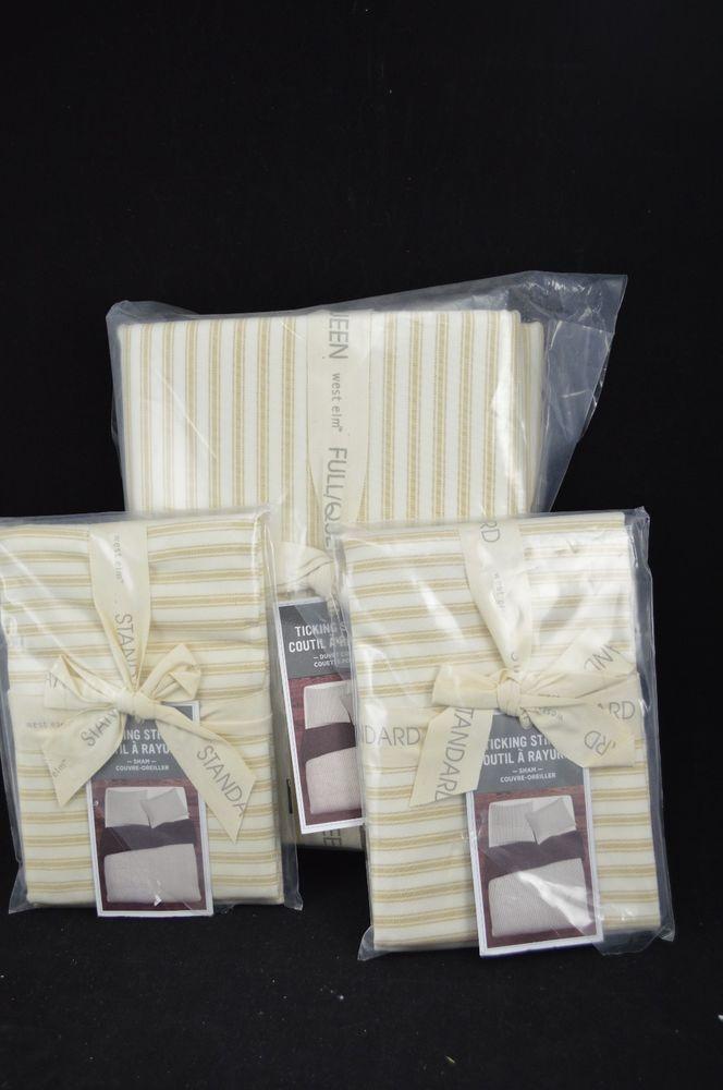 West Elm Ticking Stripe Duvet Full Queen + 2 Standard Shams Straw & Ivory #21 | Home & Garden, Bedding, Duvet Covers & Sets | eBay!