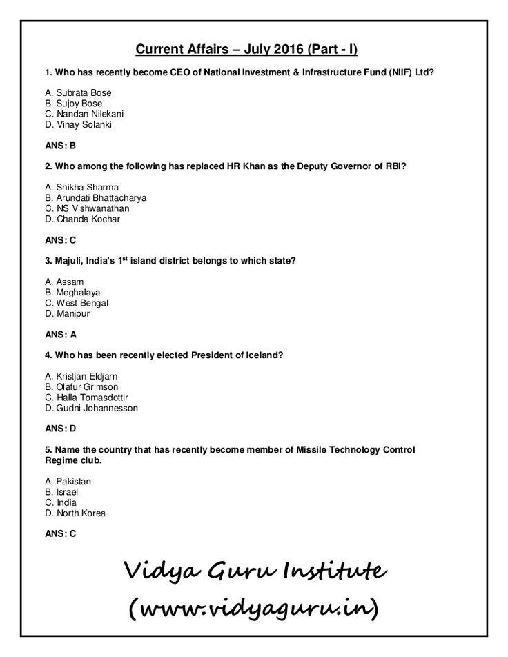 #CurrentAffairs #July2016 #Part1 #VidyaGuru Must visit: http://goo.gl/JqkS99