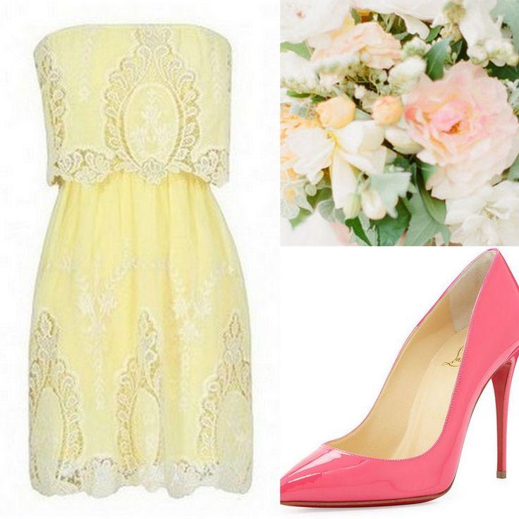 Yellow Bridesmaid Dresses, lace strapless dress, cowboy boots, white bouquet