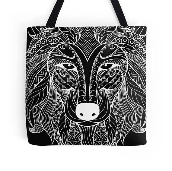 White Wolf Tote bag/ yoga bag Tattoo wolf beach bag/