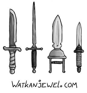 Weapons: knife, stiletto, punching dagger and dagger, Niels Vergouwen watkanjewel.com