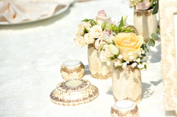 Victorian Glamour Wedding Decor - Gold & Ivory - Elegant, Antique, Vintage, Handpainted, Handmade -Table Setting - by Satori Art & Event Design