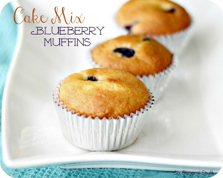 Cake Mix Blueberry Muffins from sixsistersstuff.com.  Delicious, moist muffins made with a cake mix and fresh blueberries.  A quicky and easy snack your family will love! #recipes #muffins