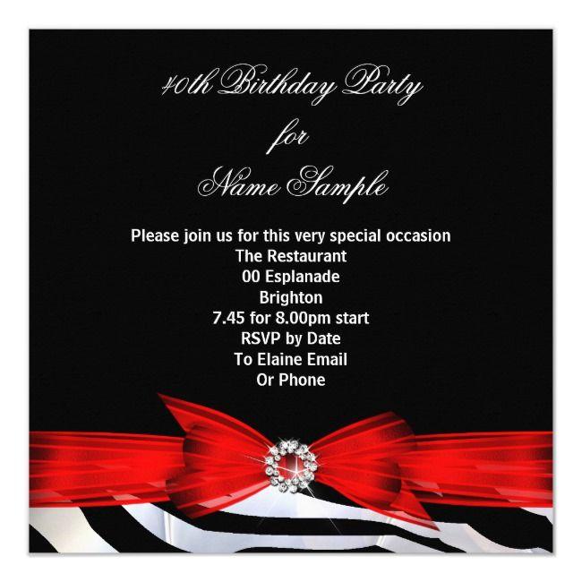 Fabulous 40 Photo Red Zebra Black White Birthday Invitation Ad