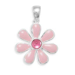 Pink Enamel and Fuchsia Acrylic Flower Pendant AzureBella Jewelry. $22.42. Jewelry gift box included. Enamel coloring. size of 24.5x18mm. .925 sterling silver