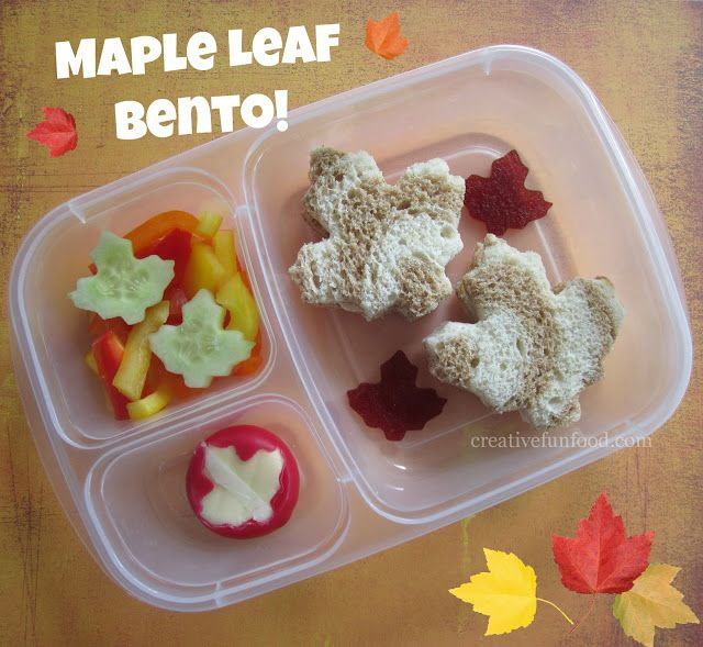 Maple Leaf Lunch: Using leaf-shaped cutters, create a lunch that celebrates the Fall time with maple leaf-shaped foods.