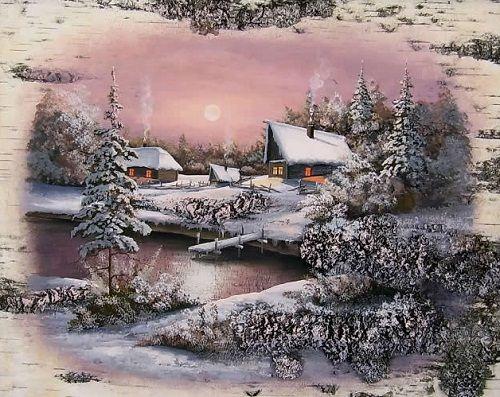 Painting on birch bark by Russian artist Sergey Surin