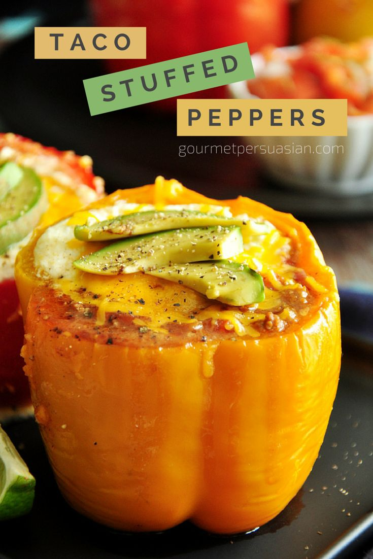 Large bell peppers stuffed with taco-flavored ground beef, onion, tomatoes and cheddar cheese topped with avocado slices and freshly cracked black pepper.