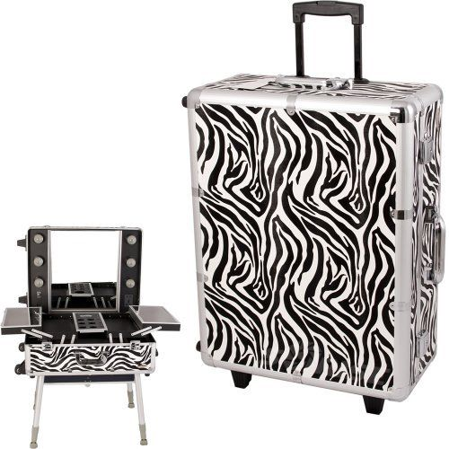 ZEBRA STUDIO MAKEUP CASE w/LIGHT - C6010 by SunRise. $449.76. High quality black aluminum finish with black aluminum trimming and construction with reinforced steel corners for extra durability. Heat resistant exterior material keeps this rolling train case cool and protects your cosmetics. Retractable / telescoping handle with inline skate wheels let you easily transporting. 2 Heavy duty handles added comfort and carrying option. 2 Lock and key system added security. A great sub...