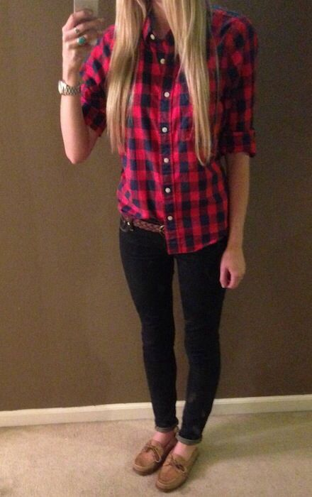 Plaid Shirt And Skinny Jeans And Sperry Flannel