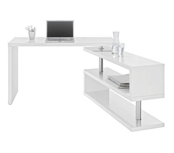 Funkciós íróasztal: fényes fehér felülettel, krómozott vázzal, beépített könyvespolccal, terhelhetőség max.40kg
