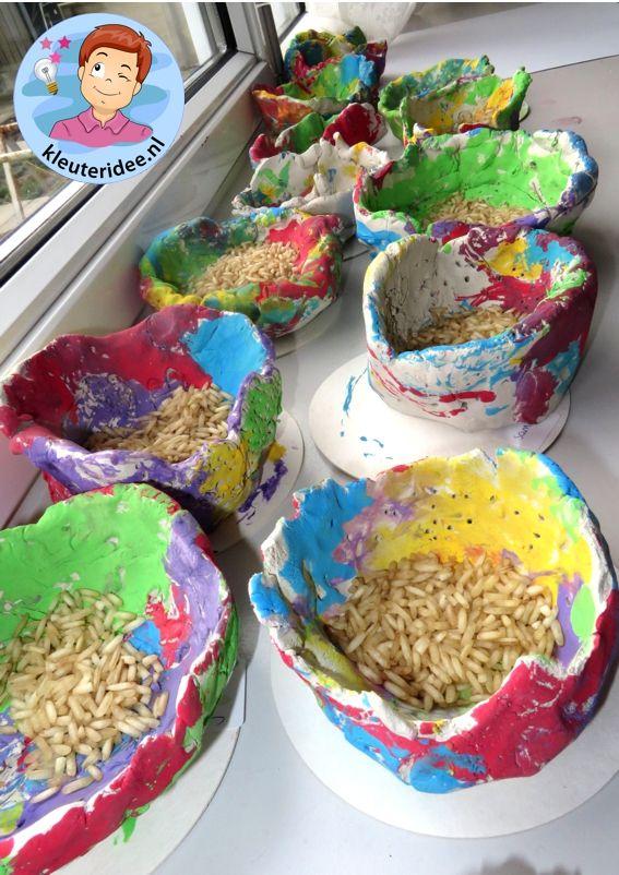 Chinese rijstkommetjes van klei, thema China, kleuteridee.nl