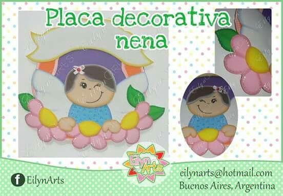 Placa decorativa Nena. www.facebook.com/EilynArts