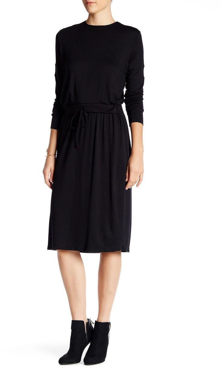 Go Couture Long Sleeve Drawstring Drop Waist Dress