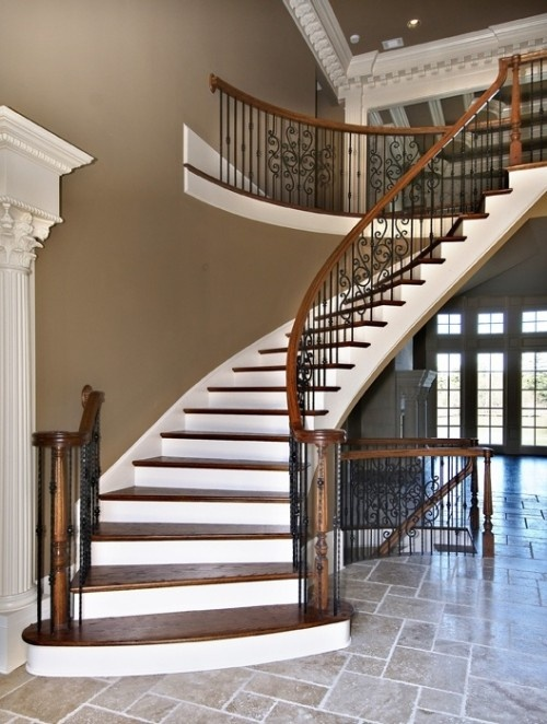 Basement Stair Trim: The Hardwood And White Trim On This Stairway Create A