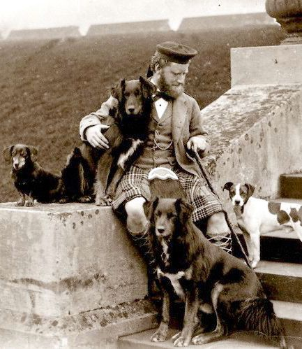 :::::::::: Antique Photograph ::::::::::  Informal portrait of John Brown with Queen Victoria's Dogs.  Balmoral c. 1880