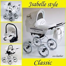 Isabell classic pram pushchair travel system with option car seat iso base 3in1
