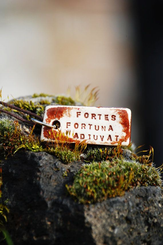 FORTES FORTUNA ADIUVAT (Fortune Favors The Brave). Nourish your mind and soul with this encouraging and wholesome piece of jewelry. This inspirational necklace will make an exceptional treat for your beautiful self and a highly original jewelry gift for your loved one.
