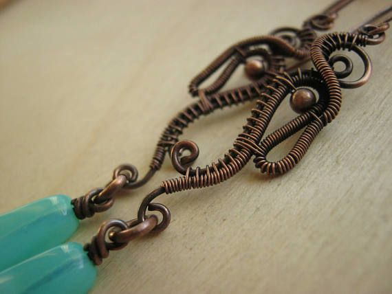 copper blue wire earring wire wrapped jewelry copper