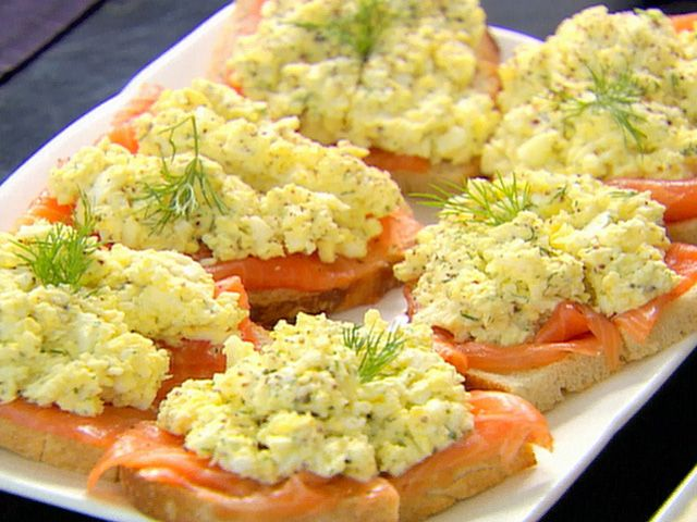 Smoked Salmon and Egg Salad Tartines from FoodNetwork.com