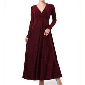 Red XL Cheap Maxi Dress 2017 New Long Sleeve Pleuche The V Neck Dress